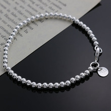 Beautiful fashion Elegant silver plated 4MM beads chain women lady cute hot Bracelet high quality Gorgeous jewelry H198