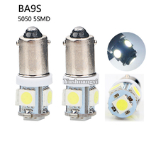 500pcs White BA9S 5050 5SMD Led License Plate Light Bulb For Car Replacement Lights Door Light 12V(China)