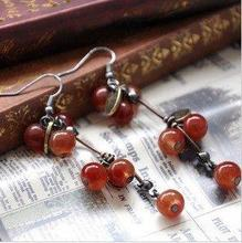 TimLee E006 ,Vintage Red Glass Cherry Drop Earring,Fashion Jewelry ,Wholesale
