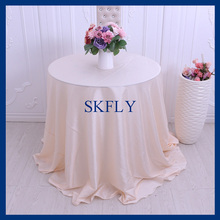 CL016F 90'' round cheap popular blush pink satin tablecloths for wedding(China)