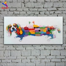 Pet Puppy Picture Hand Painted Modern Abstract Oil Painting On Canvas Wall Art Gift for Living Room Decoration No Framed CT034