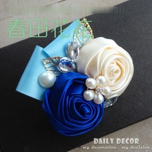 Custom! Party / wedding bridegroom corsage /  groom boutonniere / groomsmen boutonnieres handmade ribbon rose wedding flowers