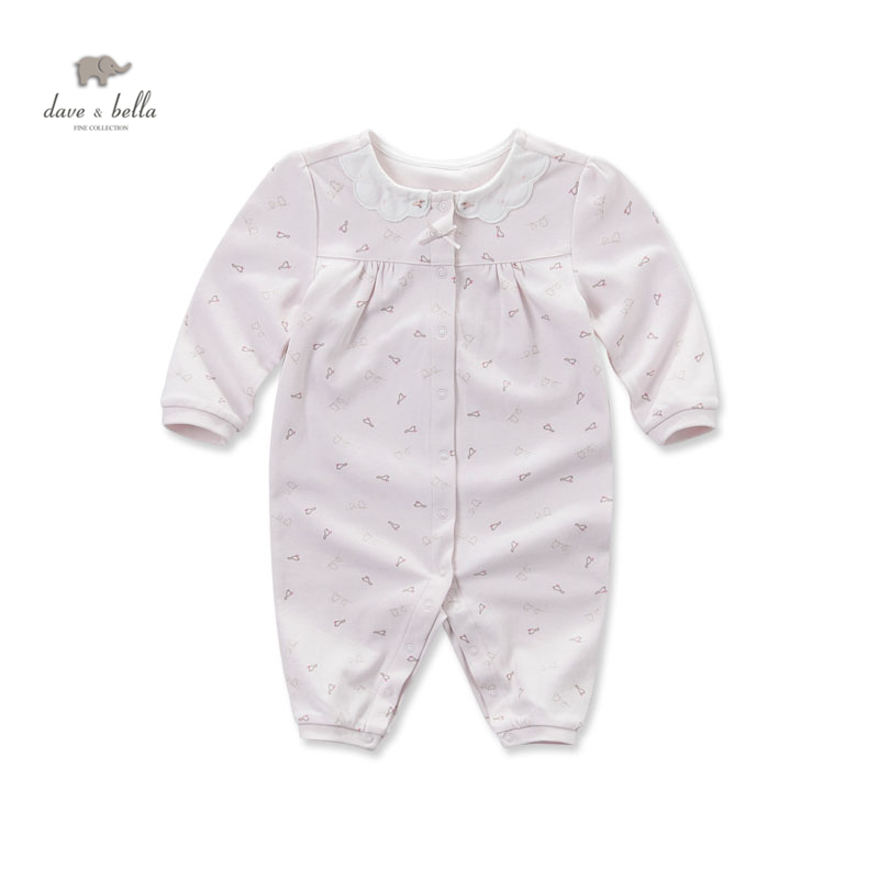 DB4066 davebella autumn new born baby cotton birds printed romper infant clothes girls pink cute floral romper baby 1 piece<br>
