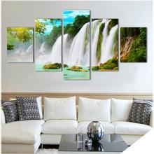 5 Pieces/set Wall Art Pictures Nature Scenery Waterfall Trees Canvas Printed Painting For Living Room Home Decoration No Frame