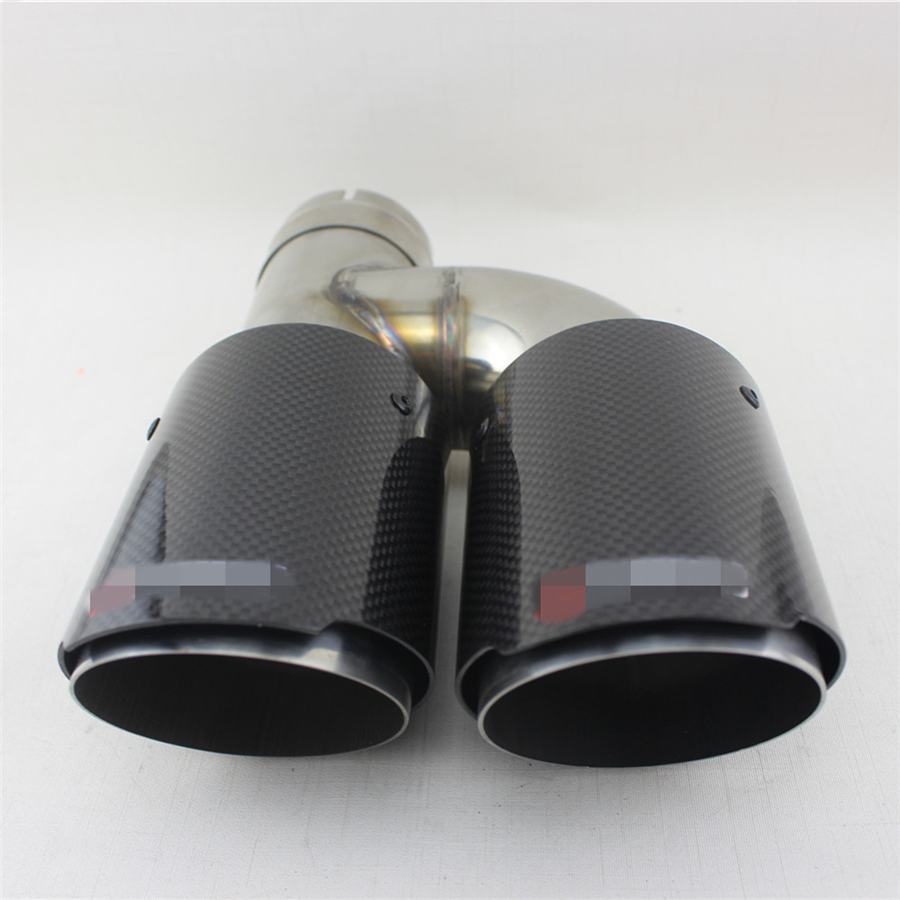 """Left+Right 2X Carbon Fiber Exhaust Tip Dual Pipe Black ID:2.5/"""" 63mm OD:3.5/"""" 89mm"""