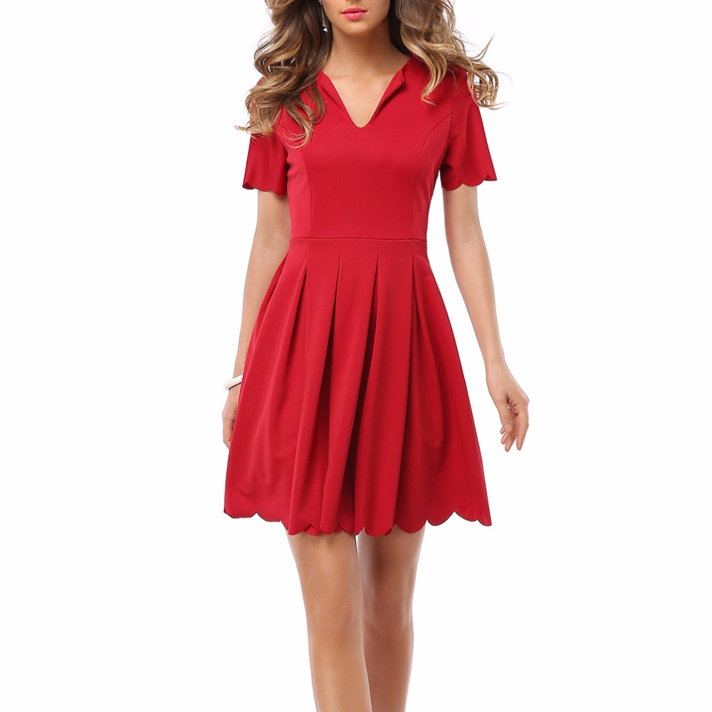 Womens Red Dress V Neck Sweet Scallop Pleated Skater Cute Slim ...