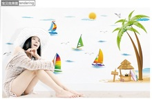 coconut tree beach wall removbale stickers sailing boat living room wall paper/decor