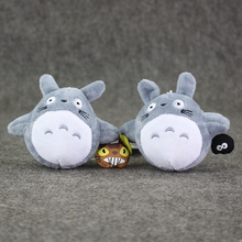 9cm Two Styles Anime New Totoro Plush Toys Kawaii Totoro with Briquette&Totoro with Bus Soft Stuffed Plush Pendant Doll