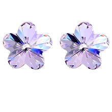 2015 Free Shipping Women Flower Crystal Stud Earrings Made With Austria Crystal Elements Silver Plated