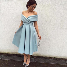 Simple V-neck Cap Sleeve Pleat Graduation Dress Tea Length Short Homecoming Dresses 2016 Ice Blue Satin Arabic Prom Evening Gown