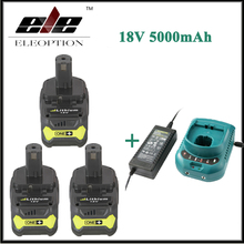 3x Eleoption 18V 5000mAh Li-Ion Battery For Ryobi P108 RB18L40 P2000 P310 For Ryobi ONE+ BIW180 With Charger