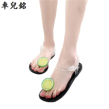 summer shoes women Jelly sandals fresh lemon grips flat buckle strap female sandals transparent plastic crystal beach shoes