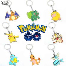 Hot Pokemon Go Figures Metal Keychains Anime Pikachu Bulbasaur Gastly Chansey Squirtle Pendants Jewelry Key Ring Holder Souvenir(China)