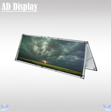 Portable Advertising Outdoor A Frame Aluminum Display Stand With Double Side Vinyl Banner Printing(China)