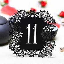 10pcs/set Black Hollow Lace Table Number Table Cards from 11 to 20 Rustic Wedding Centerpieces Vintage Event & Party Supplies