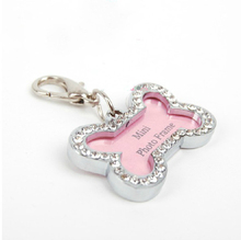 Fashion Bone Shaped Stainless Steel Crystal Rhinestone Id Tags Identity Card Drilling Bling Jewelry Dog Tags For Dogs Sequins(China)