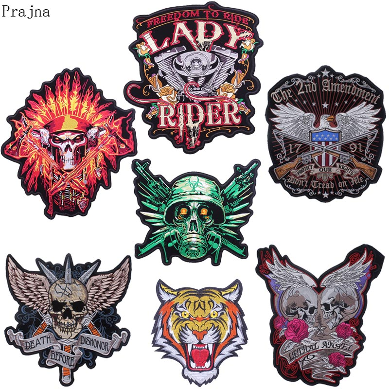 Embroidered Biker Motorcycle Back Jacket SKULL Patch