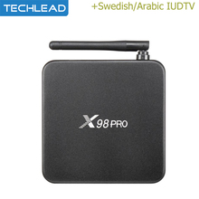 X98 pro Android IPTV Media Player Metal Case With Swedish Portugal Albanian TV Channel Arabic Europe Package iudtv m3u UK Dutch(China)