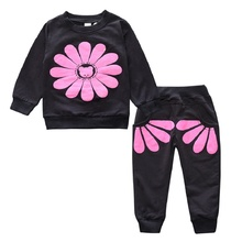 New 2017 Spring Girls Kids Clothes Long Sleeve Sunflower Children Clothing Sets Sunflower Girls Cotton Suits Fashion Kid Clothes