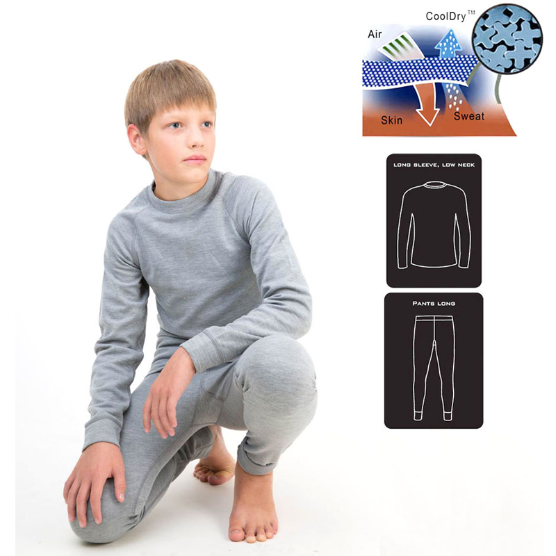 Kids Thermal Underwears Set Boys Girls Long Johns Wool Coo lDry Kids Ski Underwear Suit Childrens Soft Warm 13006<br>