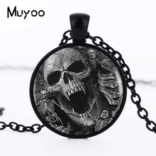 Buy 2017 Skull Pendant Vintage Skeleton Pendants Silver Necklace Women Dress Accessories Glass Photo Jewelry Fashion HZ1 for $1.11 in AliExpress store