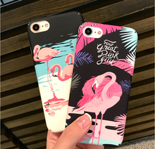 NEW  Luxury Colorful Flamingo tropical rain forest Flower Hard Plastic PC Case Cover For iphone 7 6 6S Plus Cute Animal Ostrich