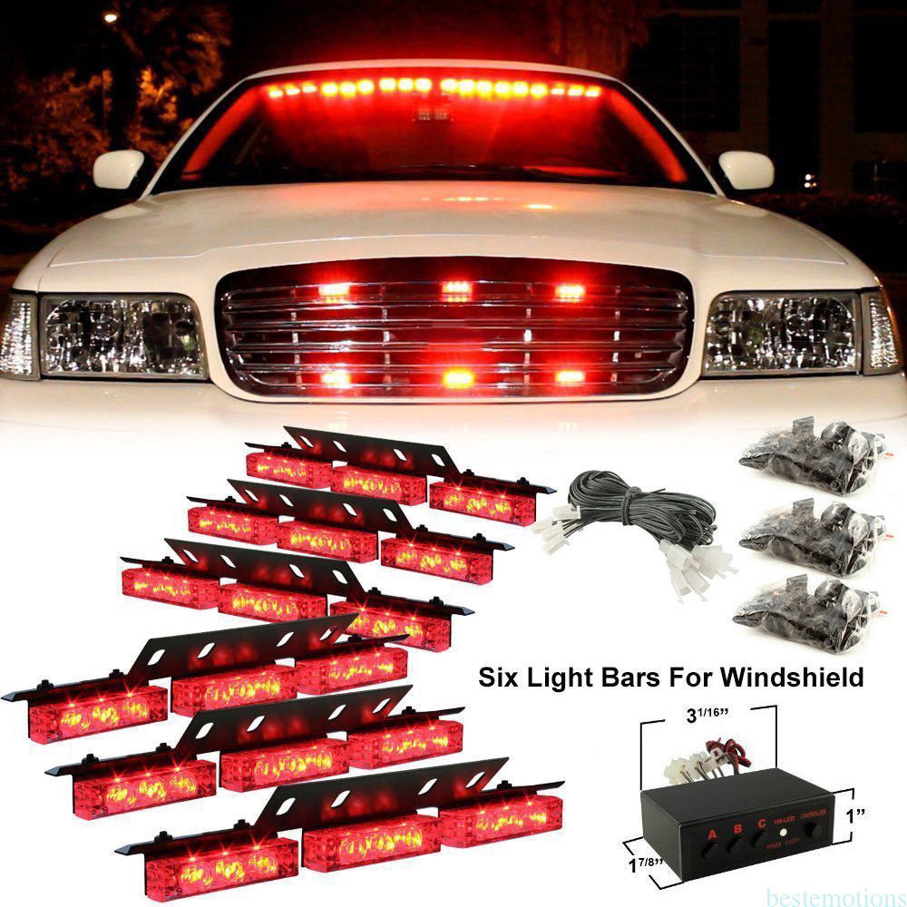 CYAN SOIL BAY Newest Red 6 x 9 LED Truck Strobe Emergency Warning Flashing Light Front Rear Grille 12V<br>