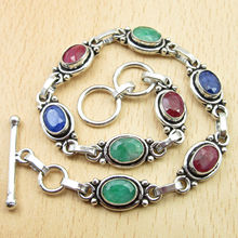 "Silver Plated Rubys, Emeralds, Sapphires Multi Colored Bracelet 8 1/2"" Jewelry Set"