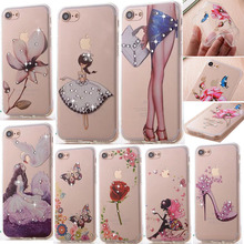 "Luxury Bling Floral Rhinestone Painted 3D Relief Case For Apple iPhone 7 4.7"" 7Plus 5.5"" Coque Flower Phone Case Cover  Fundas"