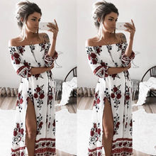 Summer Women's Chiffon Floral Dress Long Sleeve Party Casual Sexy High Split Off-Shoulder Loose Evening Long Maxi Sundress