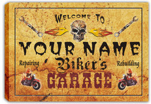 scqu2-tm Custom Your Name Skull Biker's Garage Pub Stretched Canvas Print Sign Wholesale Dropshipping(China)