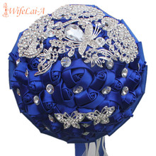 WIFELAI-A Stunning Royal Blue Rose Peacock Diamond Brooch Wedding Bouquets Bridal buque de noiva Flowers Wedding Bouquets W290-2