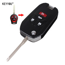 KEYYOU New 4 Buttons Uncut Blank Remote Flip Folding Key Shell Case Fob for Nissan Altima Maxima Sentra Versa With LOGO