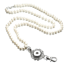 Fashion Brand White Grass Pearl Beads Fashion Lanyard Necklace Hand Beaded Perfect for ID Badges And Keys(China)