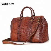 Men's genuine Leather bag Brand NEW arrival Travel bag big luggage duffle bags men crocodile leather travels Large tote LI-1546(China)