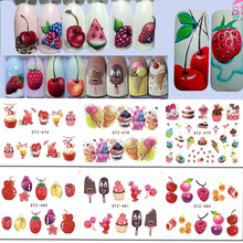 1 x Nail Art Stickers Water Decals Ice Cream/Fruit Cherry Strawberry Water Transfer Nail Sticker DIY Tattoo Decor LASTZ474-488