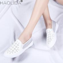 2018 New Summer Women's Shoes Genuine Leather Flats Shoes Female Casual Flat Woman Loafers Leather White Flat Shoes Woman 36-41