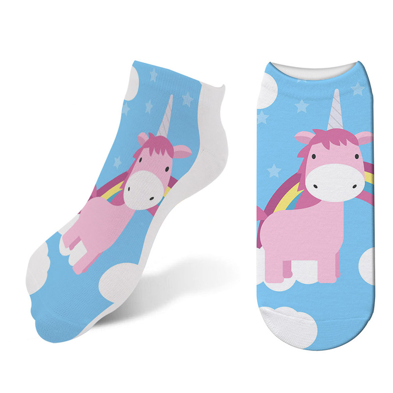 Cute Cartoon Colorful 3D Print Women Cotton Socks Winter Christmas Stockings New