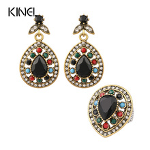 New Design Black Onyx Classic Droplets Wedding Jewelry Sets Gorgeous lady Earring&Ring Sets Free Shipping