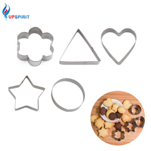 Upspirit 5Pcs Stainless Steel Fondant Cake Baking Mold Round/ Heart /Flower/ Star Shape Cookie Biscuit Cutter Decorating Molds(China)