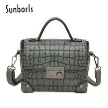 Luxury Handbags Women Bags Alligator Pattern Ladies Shoulder Bag Female Handbag Famous Brands Women Small Square Bags Tote 8V33(China)