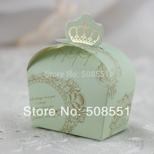 Free Shipping Light Green and Pink Paper Boxes Wedding Crown Chocolate Box For Party Gift Packaging 50pcs(China)