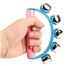 Random Color! New Girls Boys Baby Wooden Handle Rattle Jingle Bell Tambourine Ring Shake Kid Developmental toy(China)
