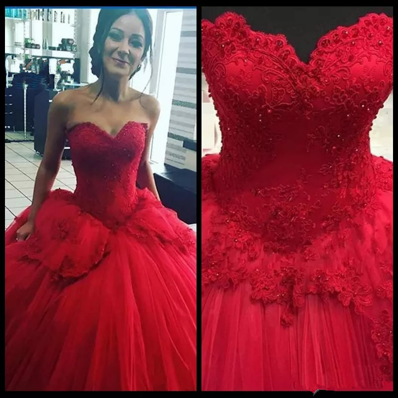 Evening Ball Gown Lace Sweet 16 Prom Pageant Gold Red Purple Quinceanera Dress