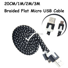 20CM/1M/2M/3M Long Strong Fabric Braided Flat Noodle V8 Micro USB Sync Data Charger Cord Charging Cable For Samsung HTC Tablet