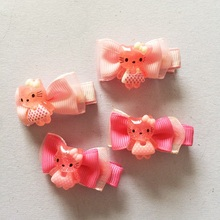 1 Pcs/lot Fashion Girls Kids Candy Color Voile Ribbon Bow Hairpin Kitty Hair Clips Kids Hair Accessories