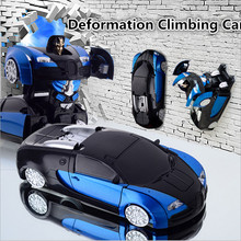 Bugatti stunt climb car Models Deformation Robot Transformation Remote Control RC climbing Car Toys strong adsorption Kids Gift(China)