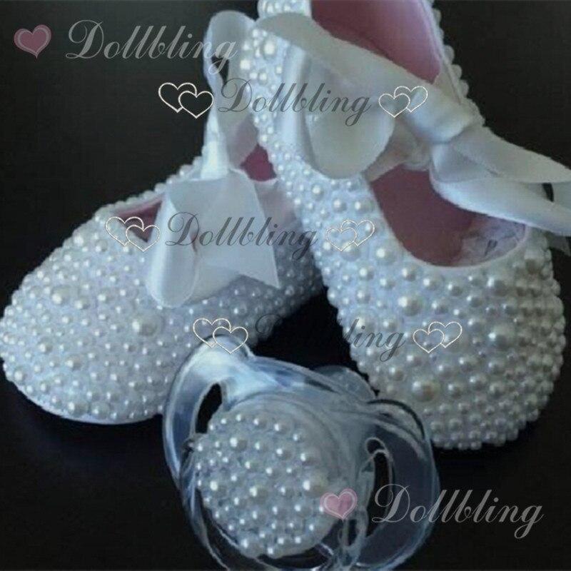 Christening pearls baby shoes Bling pacifier set pearls baby accessories custom for buyer handmade custom princess keepsake<br>