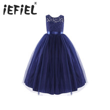 Navy Blue Kids Girls Sleeveless Tulle Lace Flower Girl Dress Princess Pageant Wedding Bridesmaid Birthday Party Maxi Bow Dress(China)