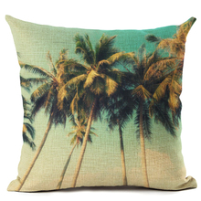 Scenery Series Cushion Cover Beach Forest Sunrise Cushion Cover Coconut Tree Throw Pillow Sofa Decorative Pillows Cover Cojines